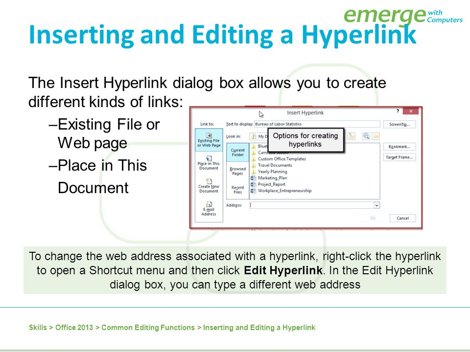 Inserting and Editing a Hyperlink