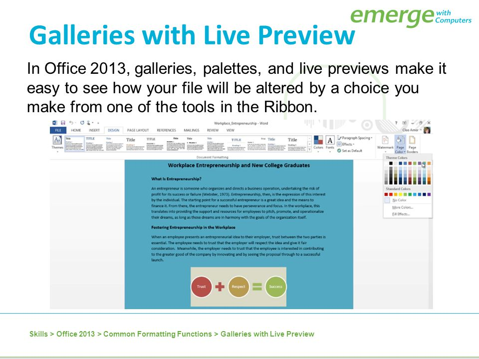 Galleries with Live Preview