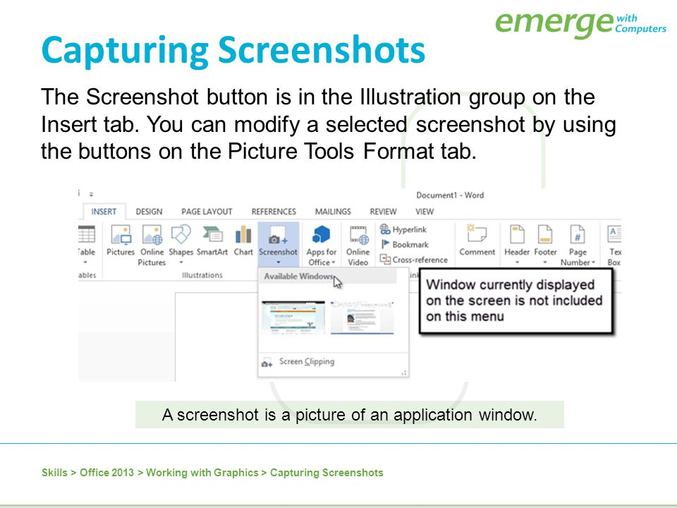 A screenshot is a picture of an application window.