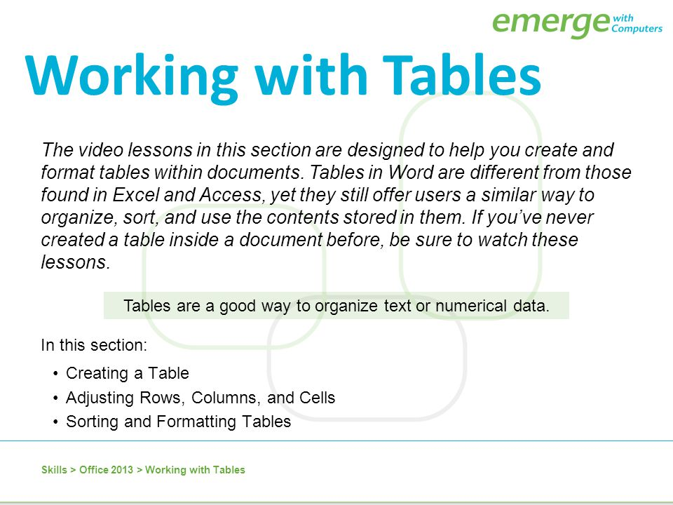 Tables are a good way to organize text or numerical data.