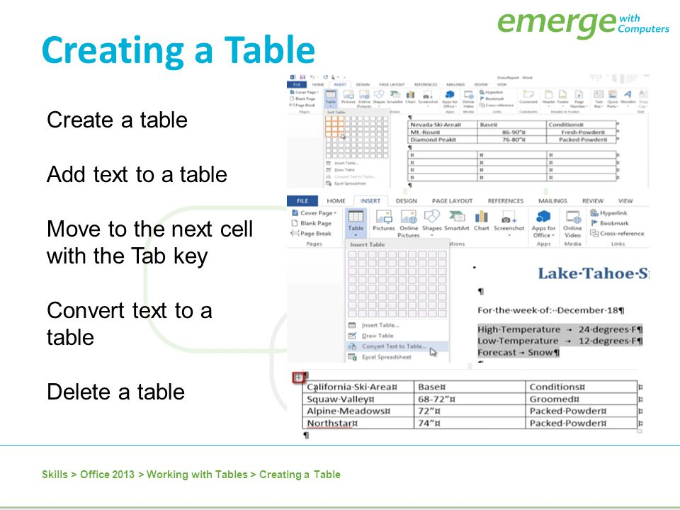 Creating a Table Create a table Add text to a table