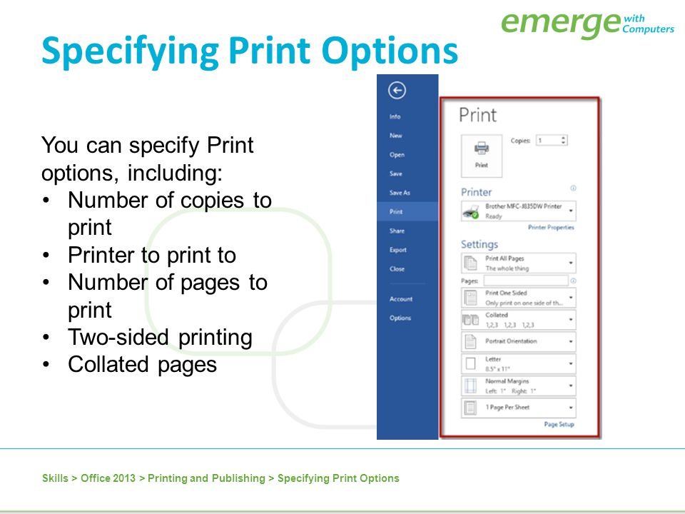 Specifying Print Options