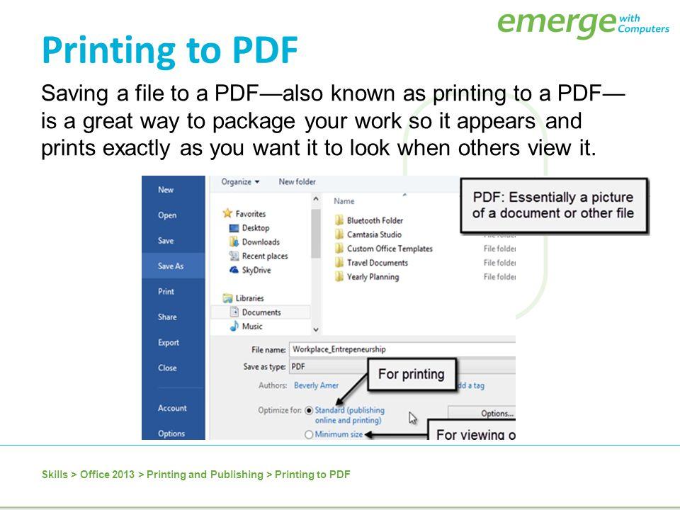 Printing to PDF
