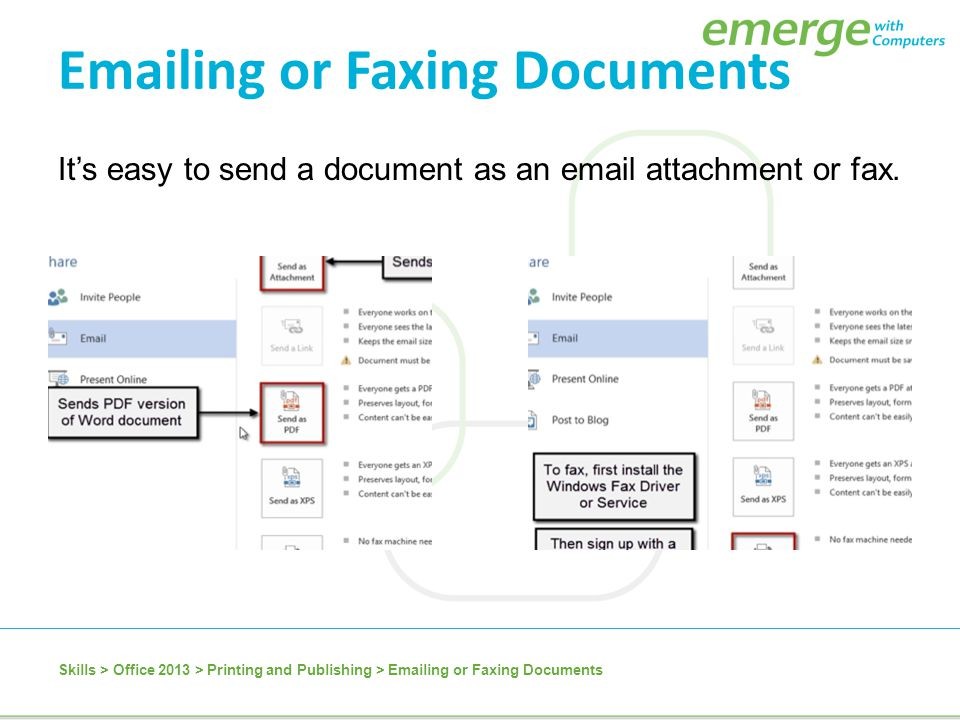 Emailing or Faxing Documents