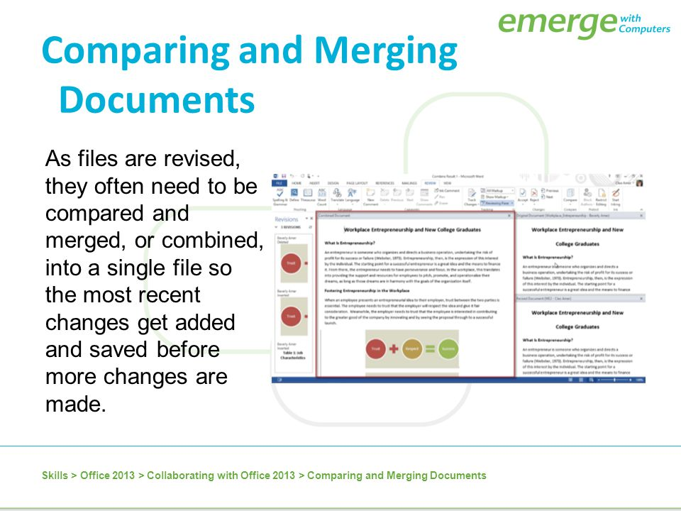Comparing and Merging Documents