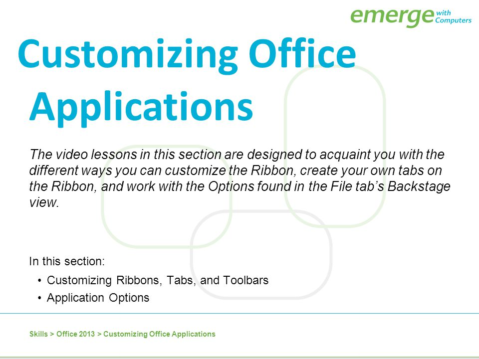 Customizing Office Applications