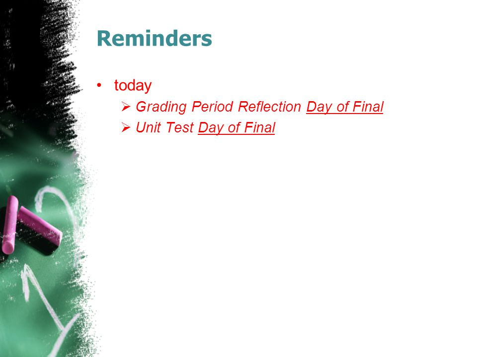 Reminders today Grading Period Reflection Day of Final