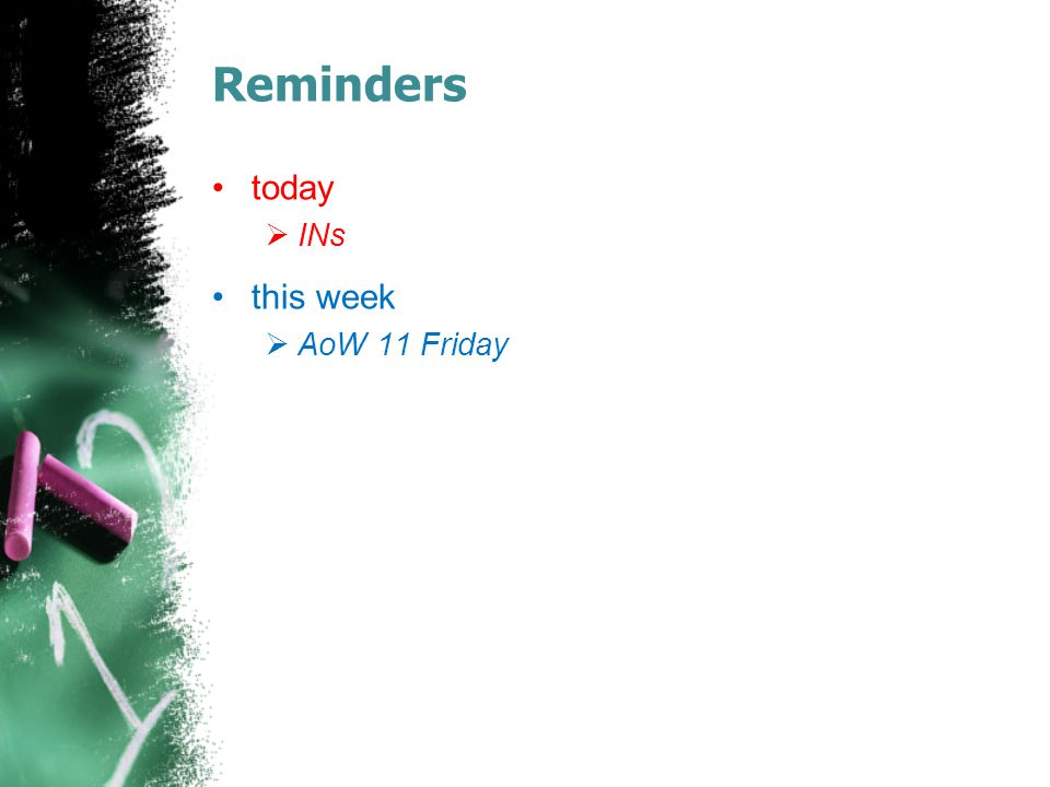 Reminders today INs this week AoW 11 Friday