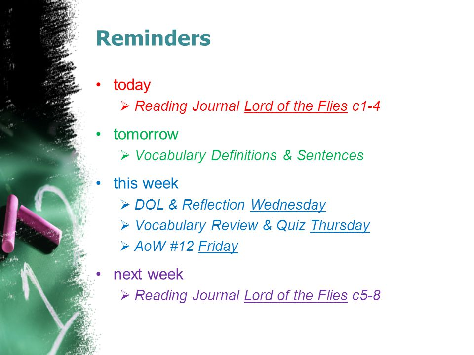 Reminders today tomorrow this week next week