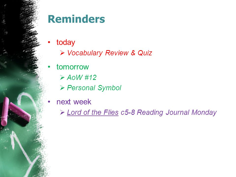 Reminders today tomorrow next week Vocabulary Review & Quiz AoW #12