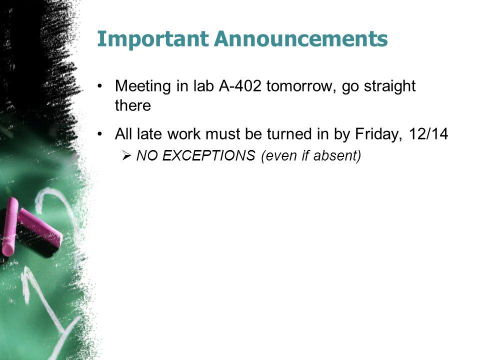 Important Announcements