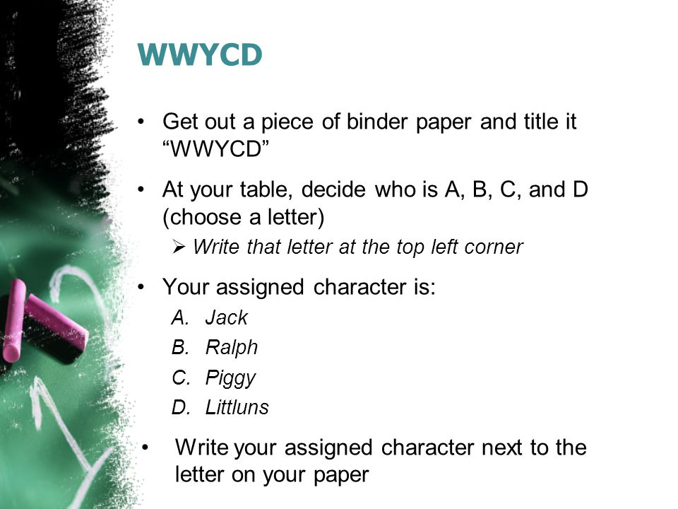 WWYCD Get out a piece of binder paper and title it WWYCD