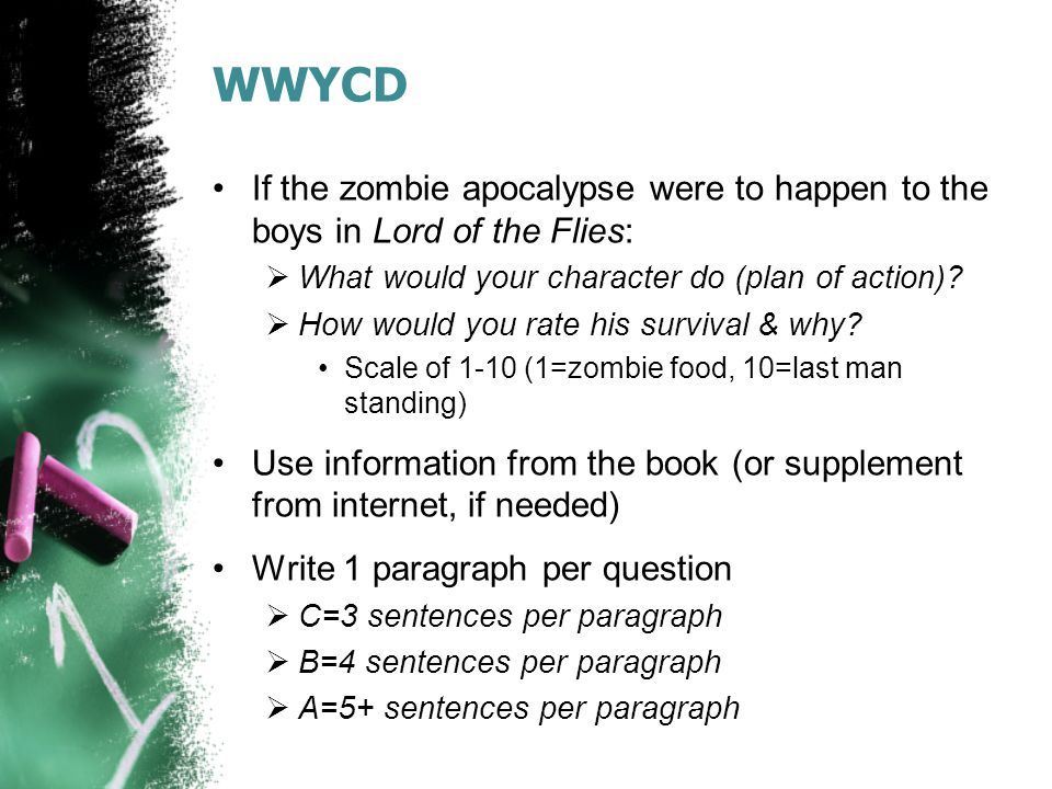 WWYCD If the zombie apocalypse were to happen to the boys in Lord of the Flies: What would your character do (plan of action)