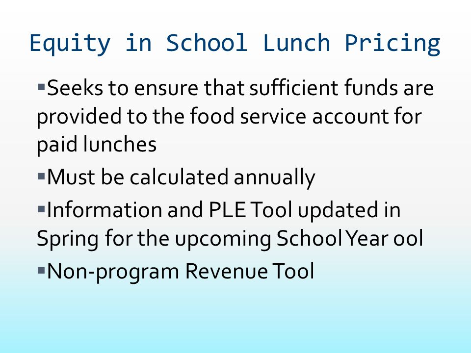 Equity in School Lunch Pricing
