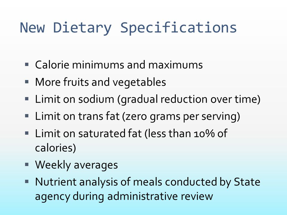 New Dietary Specifications