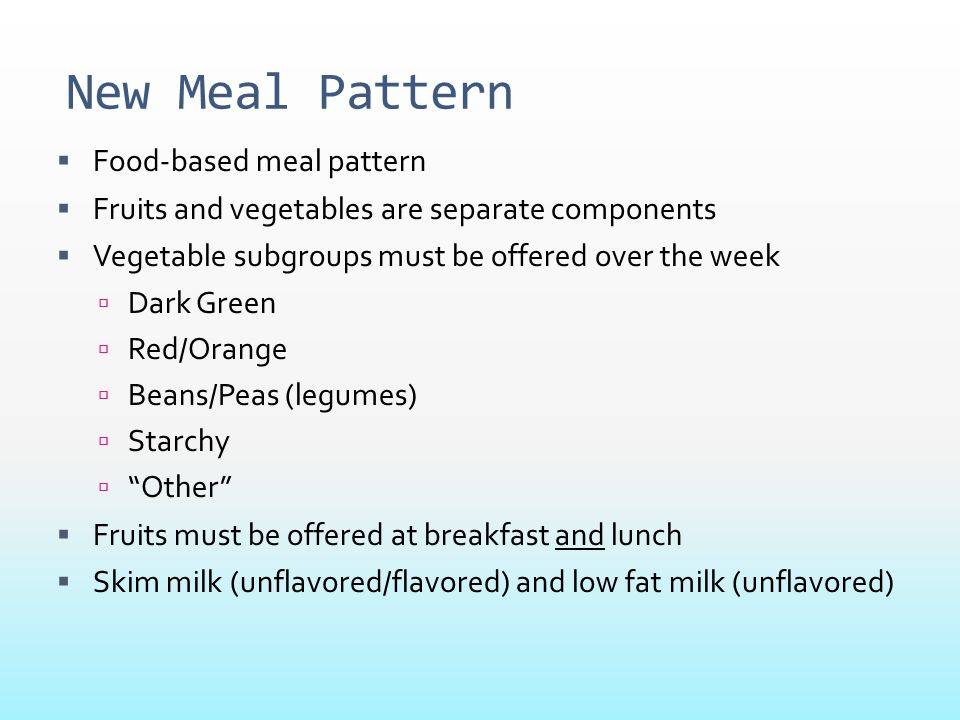New Meal Pattern Food-based meal pattern