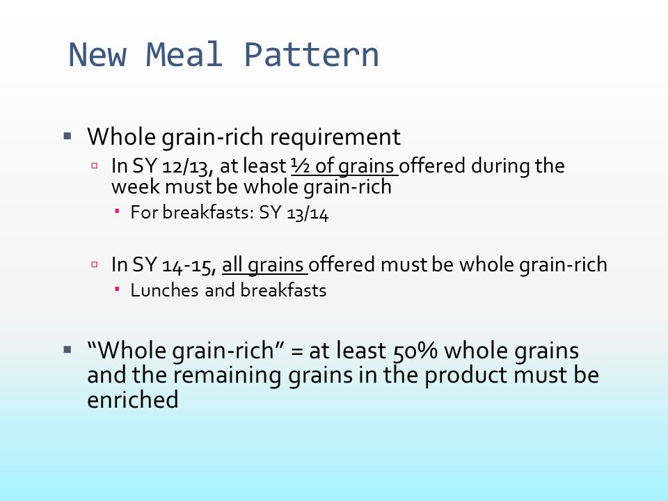 New Meal Pattern Whole grain-rich requirement