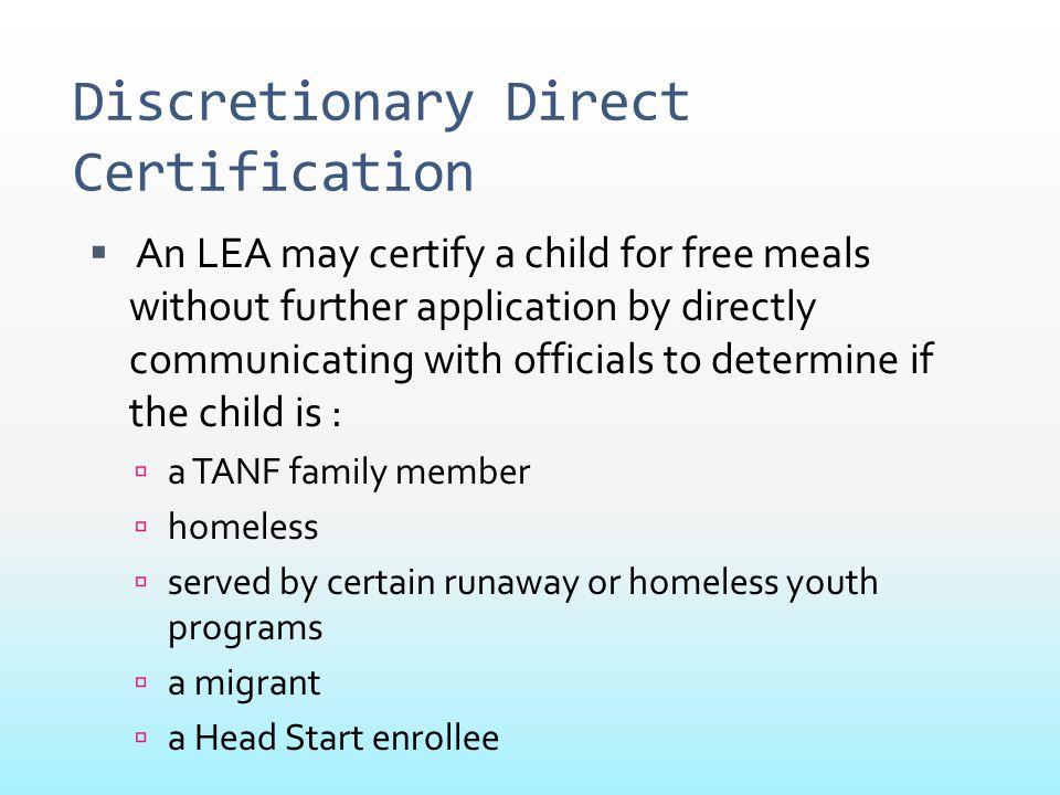 Discretionary Direct Certification