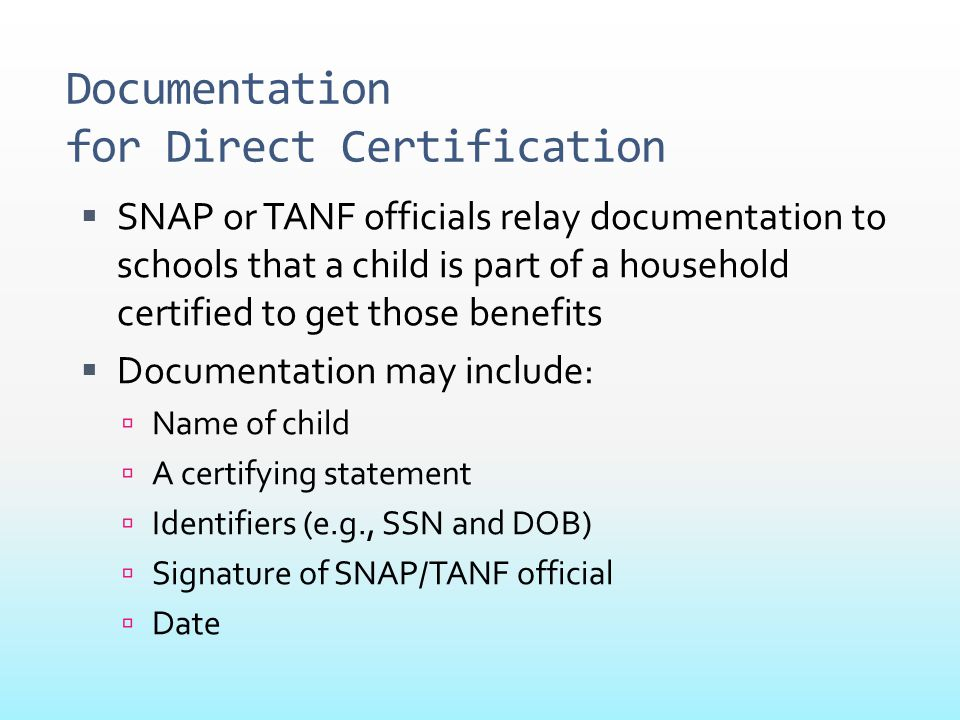 Documentation for Direct Certification