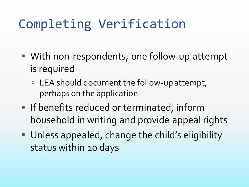 Completing Verification