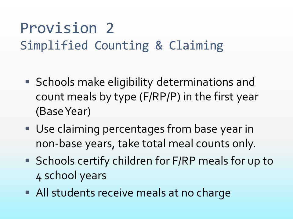 Provision 2 Simplified Counting & Claiming