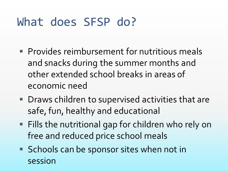 What does SFSP do