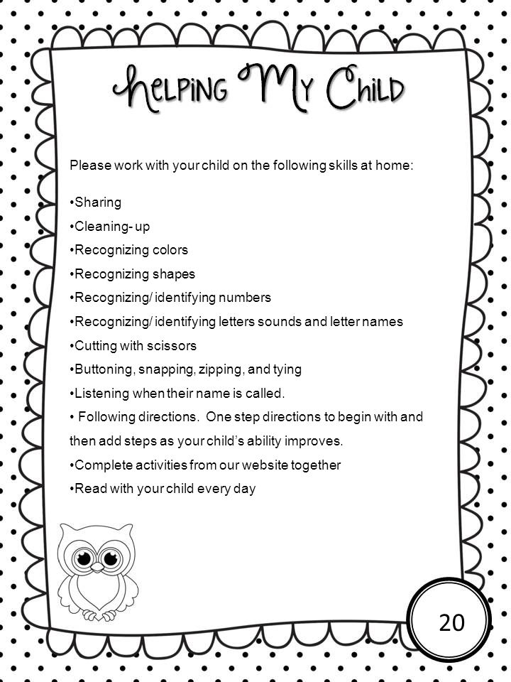 20 Please work with your child on the following skills at home:
