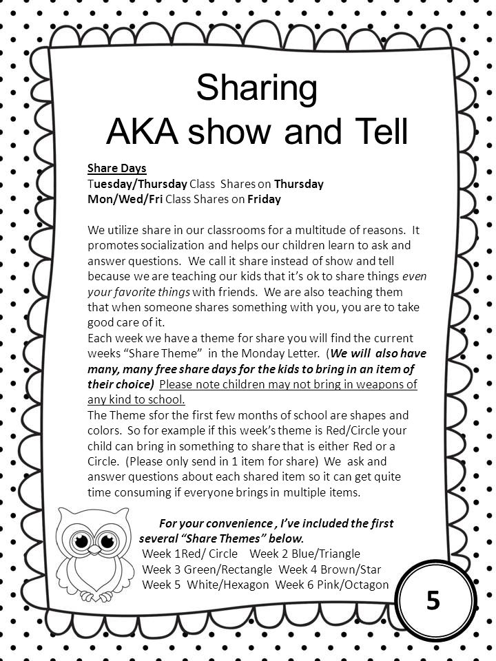 Sharing AKA show and Tell 5 Share Days