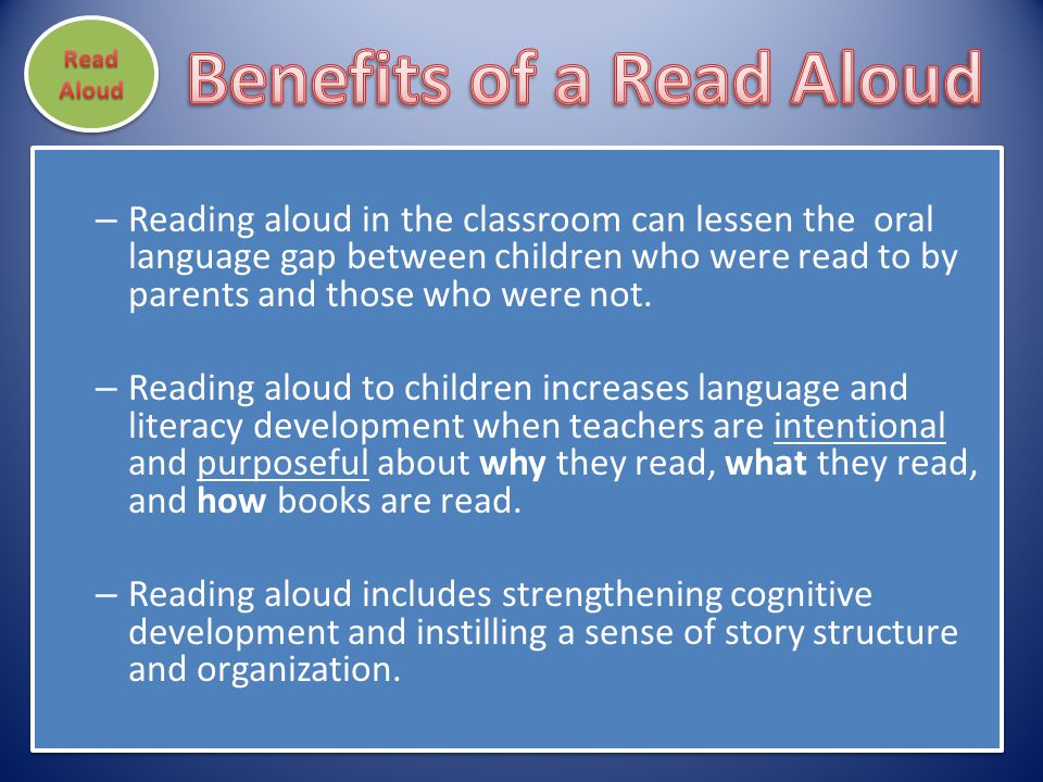 Benefits of a Read Aloud