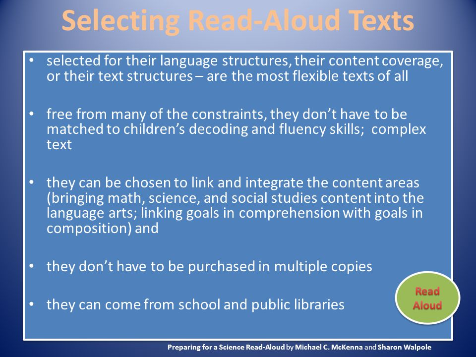 Selecting Read-Aloud Texts