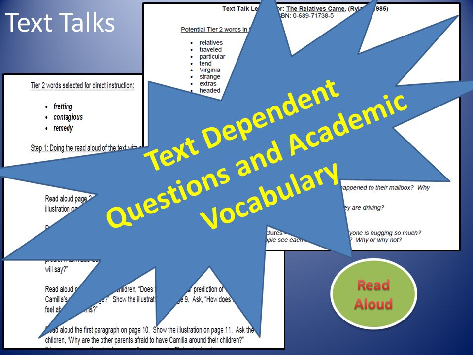 Text Dependent Questions and Academic Vocabulary