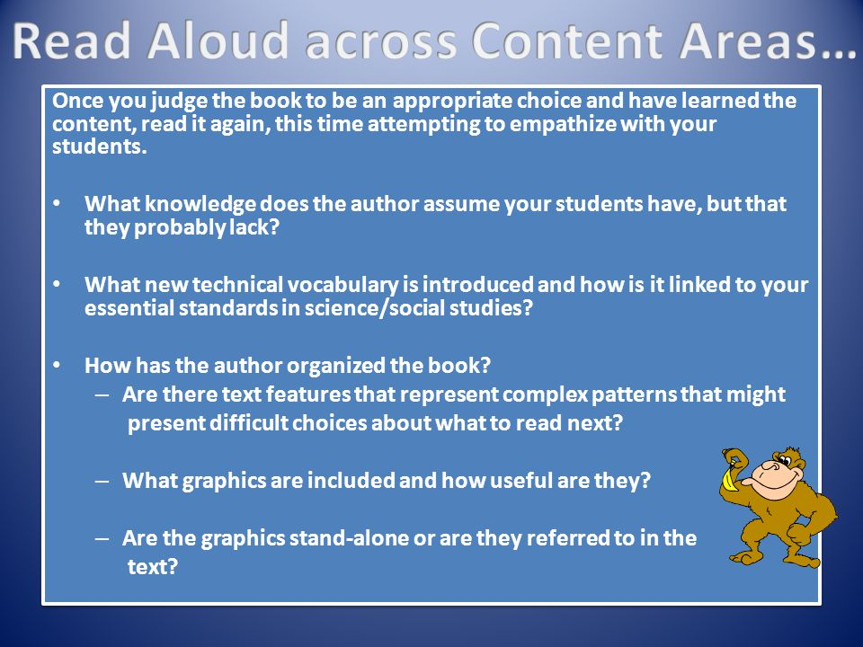Read Aloud across Content Areas…