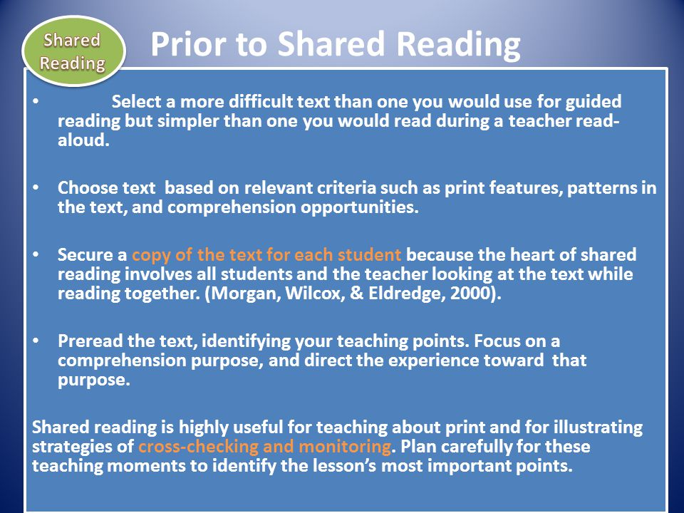 Prior to Shared Reading