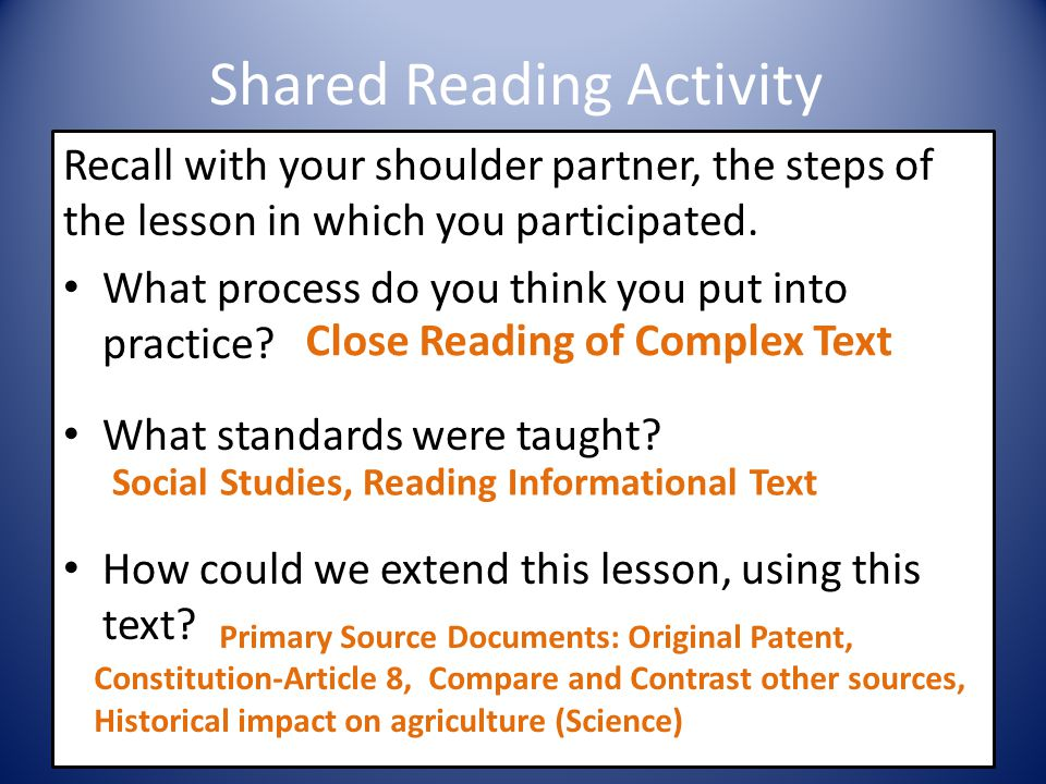 Shared Reading Activity