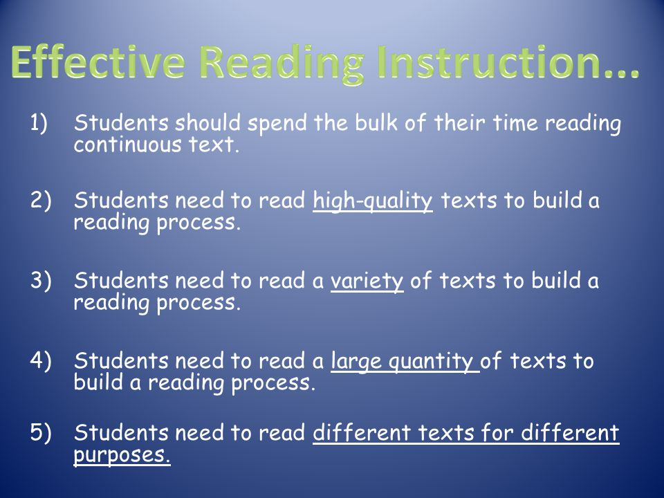 Effective Reading Instruction...
