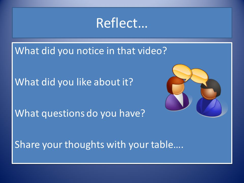 Reflect… What did you notice in that video. What did you like about it.