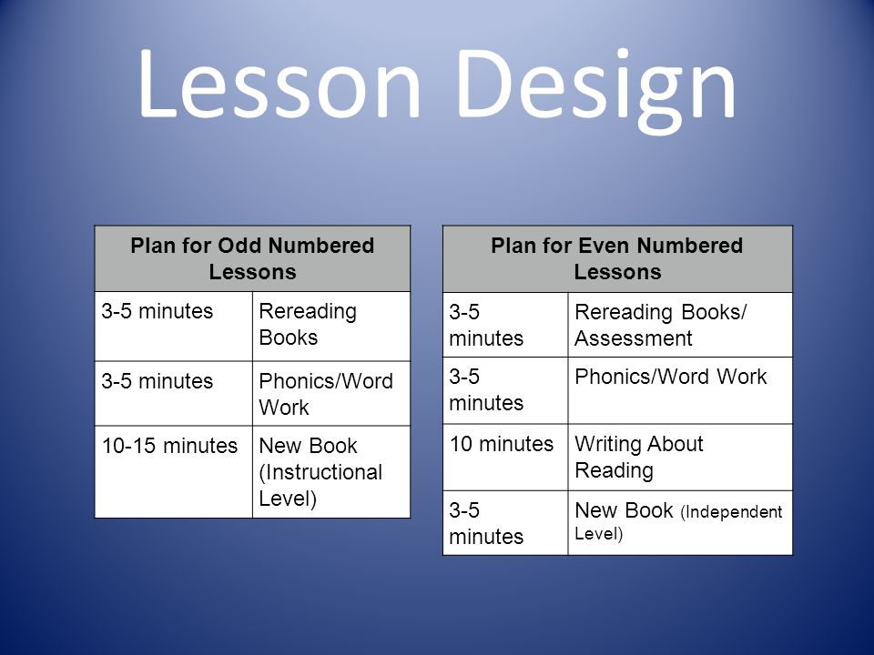 Plan for Odd Numbered Lessons Plan for Even Numbered Lessons