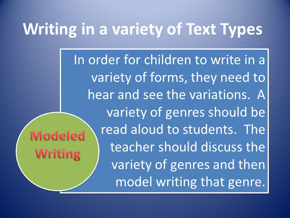 Writing in a variety of Text Types