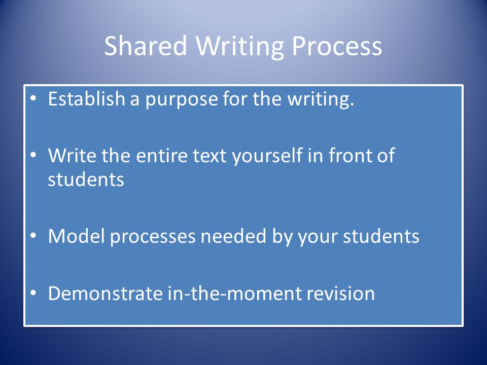 Shared Writing Process