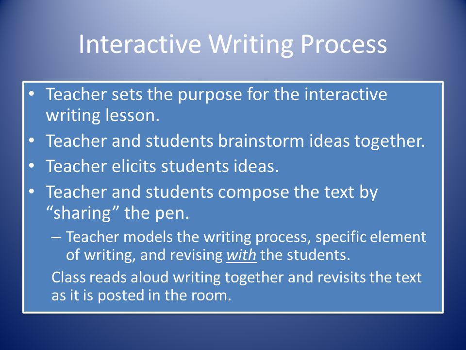 Interactive Writing Process