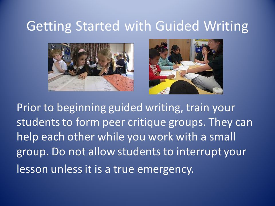 Getting Started with Guided Writing