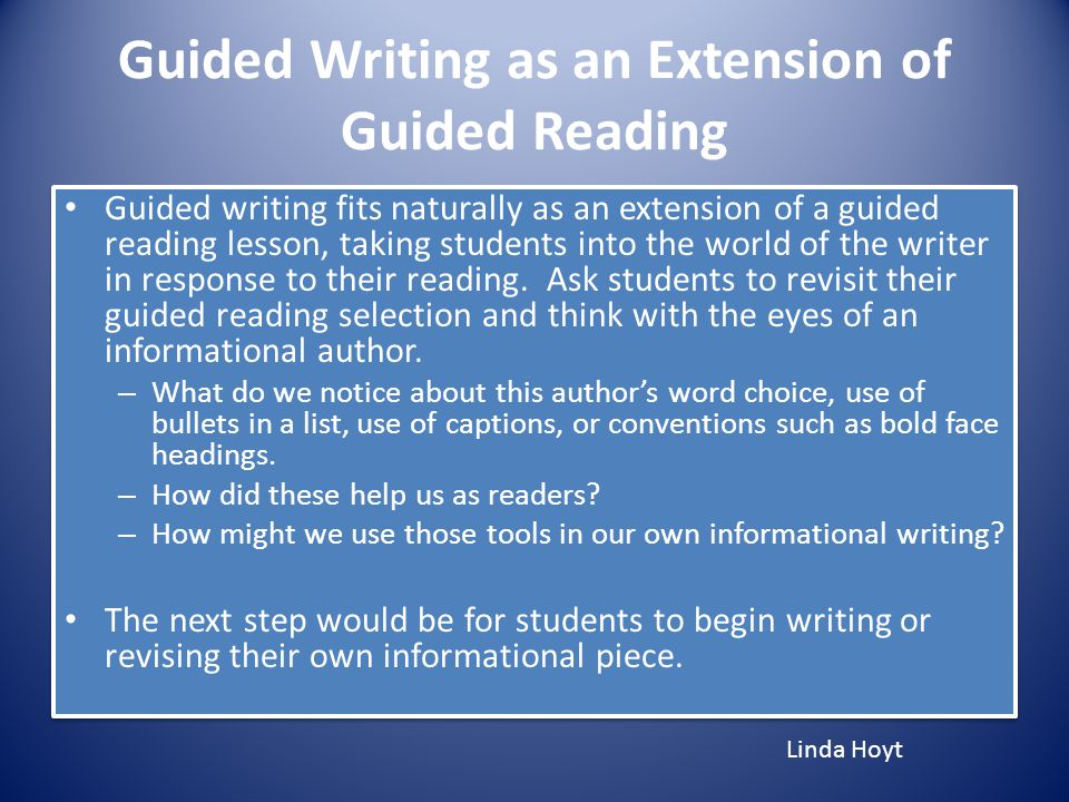 Guided Writing as an Extension of Guided Reading