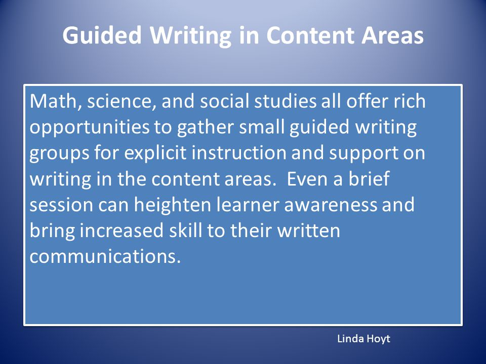 Guided Writing in Content Areas
