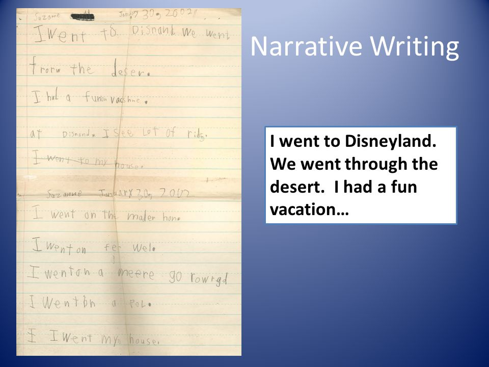 Narrative Writing I went to Disneyland. We went through the desert. I had a fun vacation…