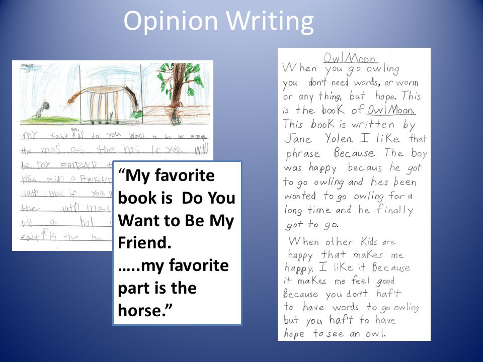 Opinion Writing My favorite book is Do You Want to Be My Friend.