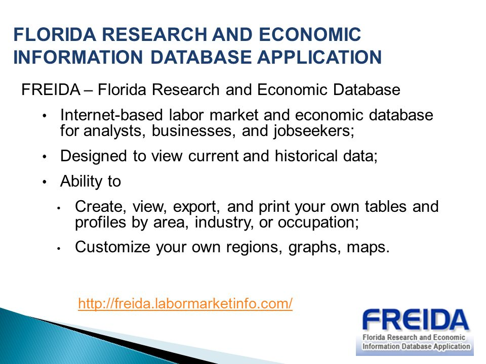 FLORIDA RESEARCH AND ECONOMIC INFORMATION DATABASE APPLICATION