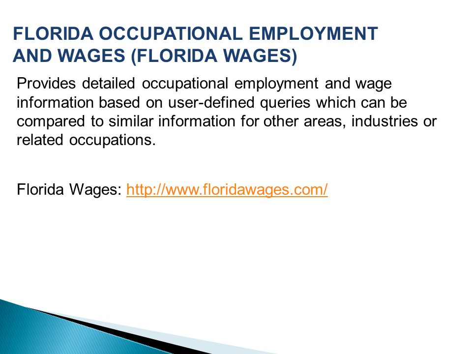 FLORIDA OCCUPATIONAL EMPLOYMENT AND WAGES (FLORIDA WAGES)