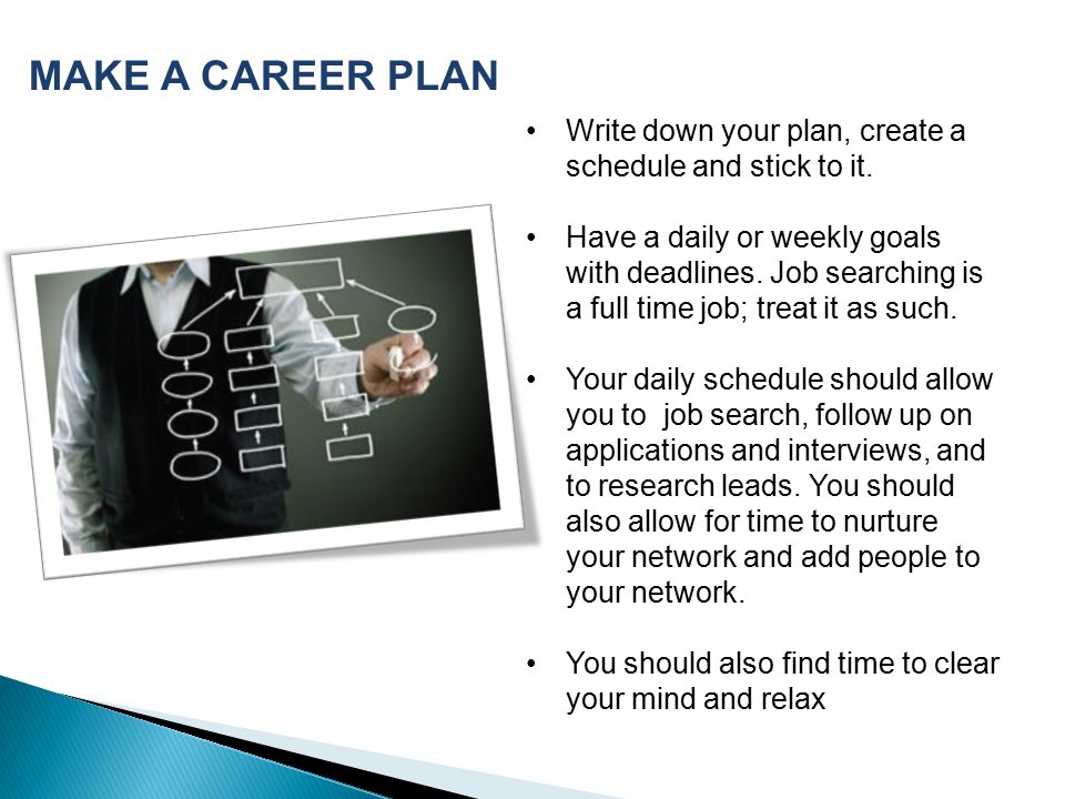 MAKE A CAREER PLAN Write down your plan, create a schedule and stick to it.