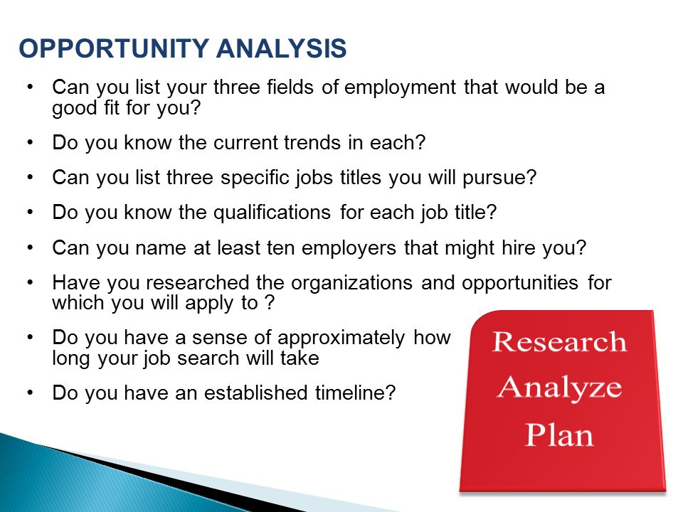 Research Analyze Plan OPPORTUNITY ANALYSIS