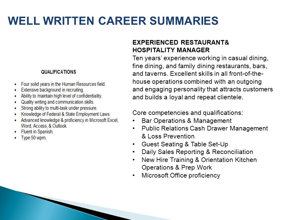 WELL WRITTEN CAREER SUMMARIES